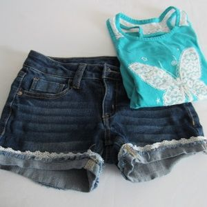 Blue jean shorts with lace butterfly tank -  M 7/8